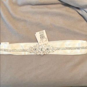 Ivory embroidered sash